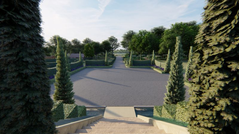 new car park within large country garden design