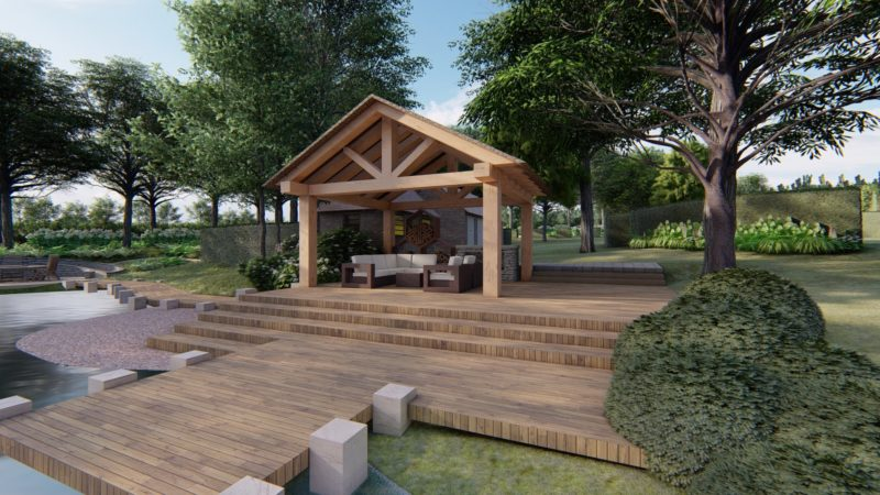 lakeside pavillion within large country garden design