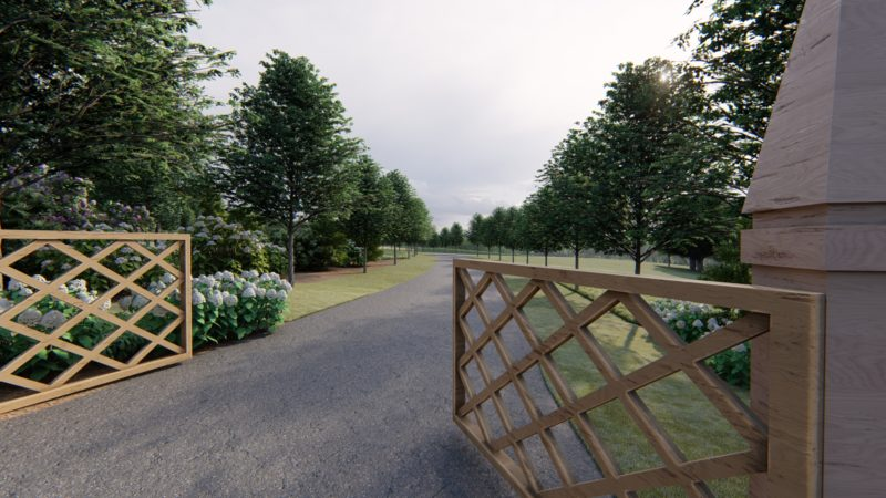 entrance gates to large country property we designed