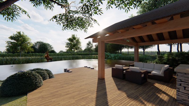 lake view in large country garden design