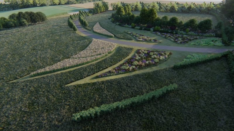 aerial view of entrance drive and meadow planting