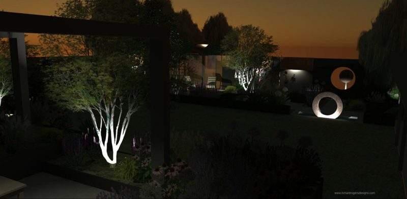 family garden concept design night scene