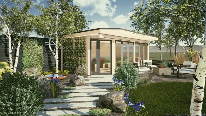 garden design including Norwegian Log outdoor room