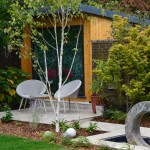 garden design including yoga studio and seating area