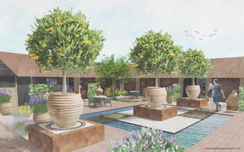 commercial courtyard concept garden design