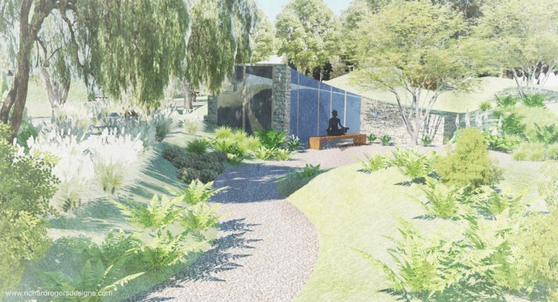 health and wellbeing concept garden design. meditation space