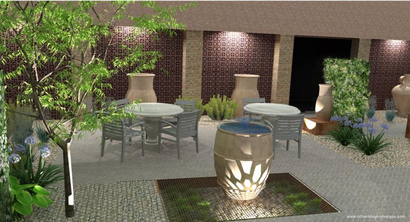 commercial courtyard concept garden design lighting